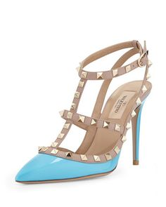 Rockstud+Patent+Leather+Sandal,+Parrot++by+Valentino+at+Neiman+Marcus.