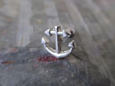 Silver Ship Anchor Cartilage Earring Upper by BohemianBodyJewellry