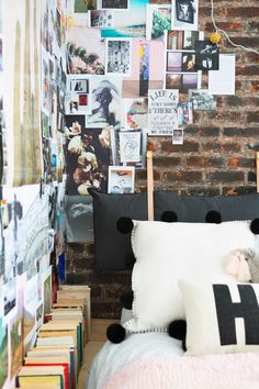 Emily Henderson Target Dorm Room Back To School Boho Eclectic Collage Wall Rocker Chic Musician Artistic Cinderblock Bed Leather Strap Headboard Diy 36