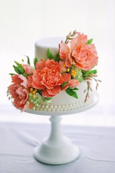 "offset layers with orange peony sugar flowers - The Mischief Maker. Meg - ""Use the spray from this cake, with this open flower rather than roses"""