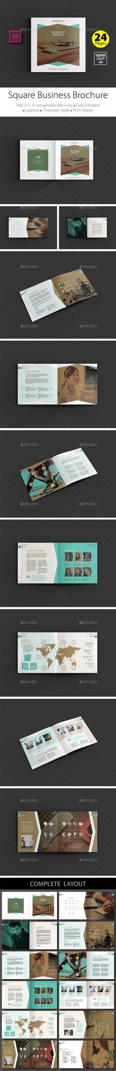 21 x 21 cm, Square Business Brochure Design Template V.2 - Brochures Print Templates, InDesign (INDD). Download link : http://graphicriver.net/item/square-business-brochure-design-template-v2/16361215?ref=marlakk