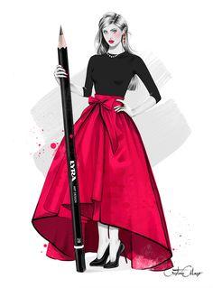 La ilustradora de moda - The fashion illustrator - ilustración creada por Cristina Alonso www.cristinalonso.com a quien descubríamos en la sección Galería del libro Figurines de Moda Técnicas y Estilos www.figurinesdemoda.com