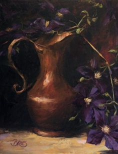 """""""Clematis and a Copper Pitcher"""" by Pamela Blaies"""