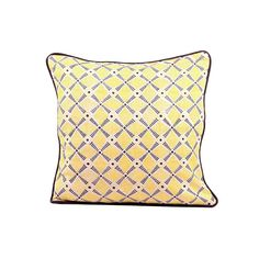 "Spokes Pillow 16"" Gray Yellow"