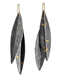 """Leaves, Leaves!"" Earrings Fine Silver, 22K Gold, 14K Rivets, 14K Keum Boo, Nanako-Hori, Forming, Fabrication, Patina"
