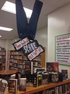 Halloween and October book display - scary books Library halloween makerspace School Library Decor, School Library Displays, Middle School Libraries, Elementary School Library, Library Themes, Library Work, Library Ideas, Library Decorations, Library Signs