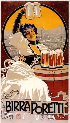 Birra Poretti Lady Beer Italia Italy Europe Vintage Poster Repro FREE SH #Vintage