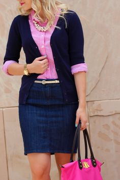 denim skirt pink shirt
