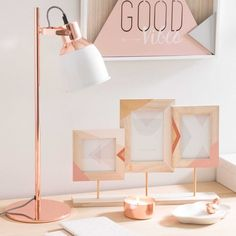 Lampe bicolore en métal cuivré H 50 cm CATHY