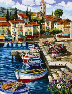 Browse Artwork by Anatoly Metlan - Park West Gallery Watercolor Architecture, Watercolor Landscape, Landscape Paintings, Watercolor Art, Images D'art, Mediterranean Art, Sea Art, Landscape Pictures, Oeuvre D'art