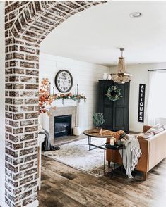 Fall mantle styling guide by the dotted bow how to decorate the perfect modern f. - Fall mantle styling guide by the dotted bow how to decorate the perfect modern fall farmhouse mantl - My Living Room, Home And Living, Living Room Decor, Dining Room, Style At Home, Brick Archway, Living Comedor, Up House, Farm House