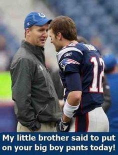 Peyton Manning giving Tom Brady a friendly warning....HAHAHAHAHAHA