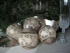 BURLAP AND ,LACE CHRISTMAS ORNAMENTS | Christmas ornament set of 4 by Mydaisy2000 on Etsy