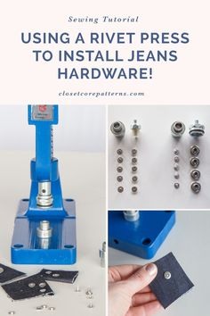 The easiest way to add hardware to your me mades! #isew #sewingjeans #hardware #installinghardware #jeansbuttons Sewing Blogs, Sewing Tutorials, Sewing Projects, Denim Scraps, Sewing Jeans, Rosie The Riveter, Jeans Button, Sewing Studio, Hardware