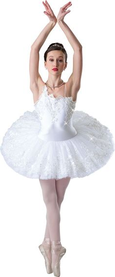 White lycra leotard with attached embroidered organza over net platter tutu. Appliqué trim. Imported.  M | L | XL | CHILD S | M | L | XL | ADULT