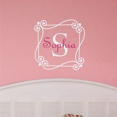 Personalized Monogram Scrolled Name with Initial Wall Art Decal. $25.00, via Etsy.