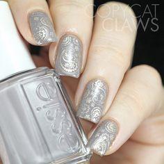 Taupe Paisley Nail Stamping