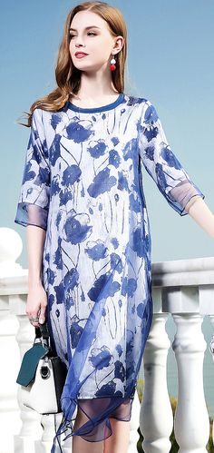 Elegant Floral O-Neck Half Sleeve Organza Print Shift Dress