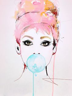 """Audrey"" Illustration portrait art print by Leigh Viner"