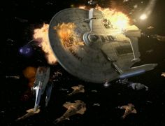 Complex CG battle sequences with dozens of ships in each shot were common during the last two years of Star Trek: Deep Space Nine (ep: sacrifice of angels)