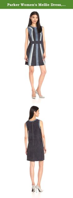 Parker Women's Mellie Dress, Aquarius, Small. Sleeveless color block suede dress. 100 percent lambskin leather. Made in china.