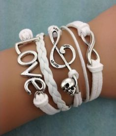 Friendship Bracelet Love, Music Note Skull, White Leather Charm Bracelet Silver Free Shipping by Chasingdreams97 on Etsy