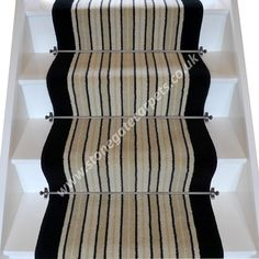 Striped cream and black stair runner designed with Brintons Carpet. Bespoke, British made-to-measure wool rich stair carpet runner. Wilton Carpet, Carpet Fitters, Brighton Rock, Black Stairs, Carpet Remnants, Hall Runner, Stair Rods, Carpet Stairs, New Carpet