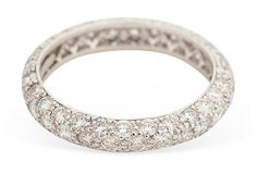 Platinum pavé eternity etoile ring from the Tiffany Co. Etoile collection. 3.5mm wide. Size 6.5 and cannot be sized. $5,900