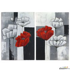 Juego cuadros al oleo flores Easy Paintings, Creative Art, Poppies, Modern Art, Arts And Crafts, Watercolor, Fine Art, Collage, Canvas