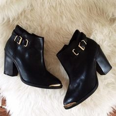 Boots - Black and Gold Croc Boot on Poshmark