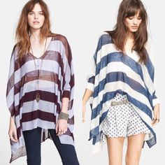 """•NWOT• Free People Striped Asymmetrical Pullover NWOT, never worn Free People Striped Asymmetrical Pullover with v-neck, long dolman sleeves, semi sheer with all over stripes, asymmetrical hem. Shortest length is about 24"""" and longest is 30"""". Material is 62% ramie, 38% rayon. Style fits true to size, XS/S 0-4. Free People Tops"""