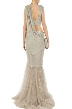 Silver embellished sari with ruched blouse available only at Pernia's Pop-Up Shop.