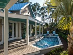 Beating the Florida heat at HGTV Smart Home 2013 is a breeze. One of the home's defining features is its stunning outdoor swimming pool which features a jet propulsion system with a water treadmill, a murmuring fountain and color-changing lights for a beautiful nighttime experience.