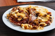 You know how you're always looking for 30-minute dishes? Bet you never thought you'd find this—the 24-minute Strip Steak with Bourbon Onion-Mushroom Sauce!