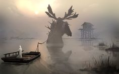 foggy lake, Denis Loebner on ArtStation at https://www.artstation.com/artwork/foggy-lake