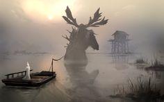 foggy lake, Denis Loebner on ArtStation at http://www.artstation.com/artwork/foggy-lake