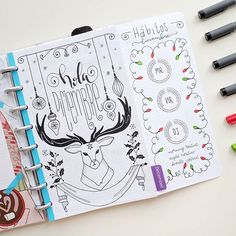 Christmas Bullet Journal Layout Ideas: December Cover Page - DIY Papier Monthly Bullet Journal Layout, December Bullet Journal, Bullet Journal Set Up, Bullet Journal Themes, Bullet Journal Inspiration, Filofax, Sketch Journal, Free Hand Drawing, Diy Papier