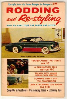 Rodding and re styling june 1960 old vintage car magazine custom rodding and re styling nov 1956 old vintage custom car magazine chevy bel air sciox Choice Image