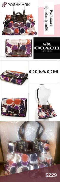 """COACH Scarf Print Ashley Signature Purse & Wallet! Gorgeous Authentic Coach Ashley Signature Purse & Wallet Set! Excellent condition! Like new! -Signature multicolored sateen fabric w/brown patent leather trim -Inside is brown satin lined with two multi-functional & one zippered pocket -Three interior compartments w/one zippered & two magnetic closure sections -Double leather straps -Coach hang tag -Gold tone hardware Appx: 16""""x10.5""""x4"""" w/8"""" handle drop 🚫TRADES🚫✅Reasonable Offer Chart✅…"""