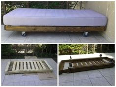 Mobile outdoor bed made with recycled pallet ! More information at Facebook page website !…