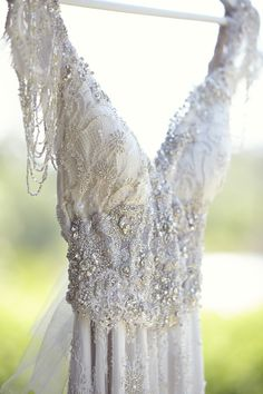 Beaded Wedding Gown: Anna Campbell | See the wedding on Style Me Pretty: http://www.StyleMePretty.com/australia-weddings/victoria-au/2014/03/04/romantic-and-rustic-victoria-wedding-at-andersons-mill/ | Photography: 35mm Photography