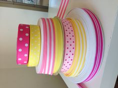 Fun Yellow and pink grosgrain ribbons