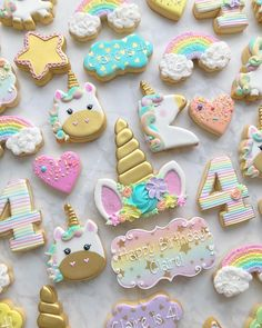 63 new ideas for baby shower boy theme blue - pinertions Diy Unicorn Birthday Party, Rainbow Unicorn Party, 5th Birthday, Birthday Cake, Birthday Ideas, Iced Cookies, Cute Cookies, Unicornio Cookies, Rainbow Sugar Cookies