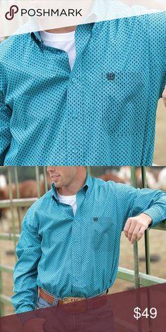 ba23c6ea Sale Men's Cinch western barbed wire print Turquoise men's Cinch western  shirt. Has barbed wire