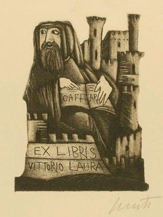 Exlibris by Emanuele Luzzati from Italy for Vittorio Laura - Castle/Palace Man - Etching Aquatint Ex Libris, Brassai, Engraving Art, Pen And Paper, Bibliophile, Printmaking, Book Art, Sketches, Art Prints