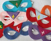 Super Hero Mask (with lightning bolt badge) ANY COLORS- CHILD