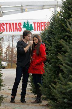 Nina Dobrev and Ian Somerhalder Couple Up to Get a Christmas Tree