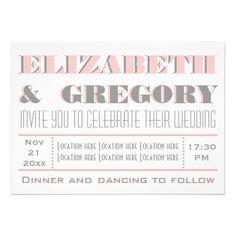 Pink, grey modern typography, casual informal wedding invitation. #typography, #modern, #wedding, #weddinginvites, #weddinginvitations See more designs http://www.zazzle.com/weddings_?rf=238228936251904937=zBookmarklet