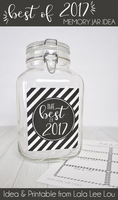 Record those special memories from 2017 with this great 'Best of 2017 Memory Jar idea' from Lala Lee Lou. New Year Printables, Free Printables, Family Memories, Memories Jar, New Years Eve Traditions, Gratitude Jar, Craft Projects For Kids, Kids Crafts, Dance Gifts