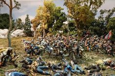 An incredible 1/30th scale diorama using commercially available Britains, Collector's Showcase and Conte figures. More images of this piece here: http://www.michtoy.com/spip-3-0-5/?The-American-Civil-War-War-by-the: